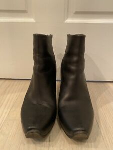 ACNE STUDIOS Black Leather Boots Size 40 Women's Ankle Heeled Shoes