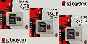 Kingston microSD SDHC 8GB 16GB 32GB class 4 microSDHC Karte mit SD Adapter NEU