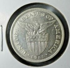 1921 - (M) US / Philippines 50 Fifty Centavos Coin Extra Fine / AU