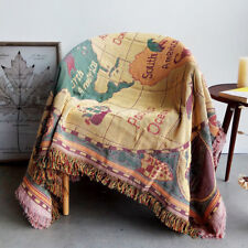 Cotton Knitted Tassel Slipcover Sofa Cover World Map Print Blanket Chair Covers#