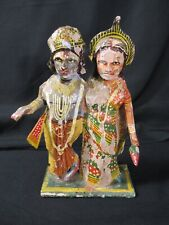"""Antique Very Skilled Hand Painting Paper Mache Lord Vishnu And Lakshmi Large 7"""""""