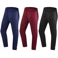 NEW Men Joggers Ankle Zipper Pants Quilted Sides Elastic Waist Drawstrings Zip