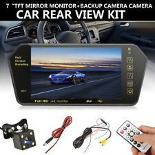 "7"" Car Rear View Backup Mirror Monitor+Wireless Reverse Camera Cam System LCD"