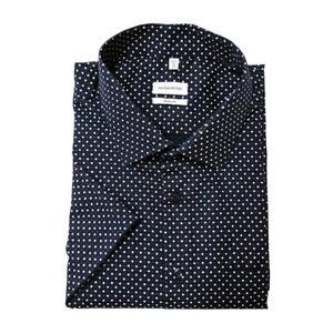 Seidensticker Herren Kurzarm Hemd Regular Kent blau rot weiß Print 195861.19