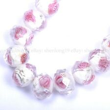 10/20pcs Flower Inside Faceted Rondelle Lampwork Czech Glass Spacer BEADS 12MM