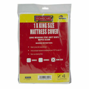 Home Care Vinyl Plastic Fitted Mattress Bed Cover Sheet Protector - King Size