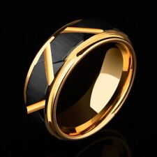 Men Wedding Band 8mm Tungsten Black Faceted Gold Plated Comfort Fit
