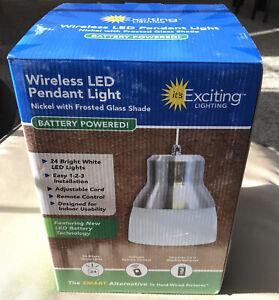 It's Exciting Lighting IEL-5778 Wireless LED Glass Hanging Pendant Light Nickel