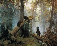 "Art Giclee Print Bear in the Forest Oil painting Printed on Canvas 16x20"" P026"