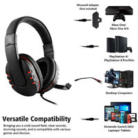 3.5mm Wired Gaming Headset Over Ear Headphones with Mic for PS4 Xbox One PC