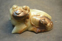 Chinese Vintage Sinkiang Jade Scare Looking Monster 3 Leg Money Toad Wealth God