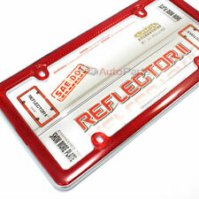 Red Reflector Chrome Plastic License Plate Tag Frame for Auto-Car-Truck