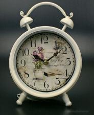 Nostalgie Wecker Shabby Chic Landhausstil weiss Uhr Standuhr Antik Dekowecker