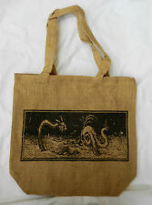 Jute Shoulder Bag / Tote Bag /School Bag - Dragon / Sea Serpent Design - BNWT