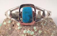 Vintage Style Navajo Handmade Kingman Turquoise Bracelet set in Sterling Silver