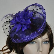 CHAPEAU BIBI sur serre-tête fleur plumes violet PETIT Parure pour cheveux