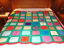 Granny Square Handmade Handcrafted Crochet AFGHAN Throw Blanket ~ Bright Colors