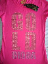 NEW WOMENS GOLDDIGGA GOLDIGGA CERISE / HOT PINK T SHIRT TOP EURO 36-38 UK 8 - 10