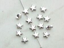 40x Metall Perlen Stern 6mm Spacer Zwischenperlen Schmuck Deko Armband Basteln