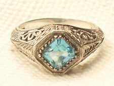 Estate Vintage Sterling Silver CNA Signed Blue Topaz Filigree Ring .925