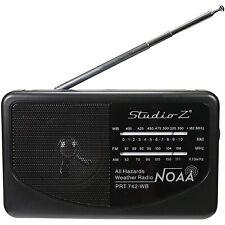 Studio Z PRT-742 AM/FM/WB 3-Band Compact Portable World Radio Receiver, Black