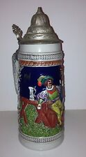 Vintage German Gerz Beer Stein Handgemalt Pewter Lidded Germany