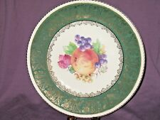 Solian Ware Simpsons Potters Green and Gold Gilded Fruit Design Dinner Plate
