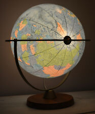 "rare Mid Century iluminted  ""SCAN Globe"" 12""Ø mouthblown glass Teak Base Denmark"