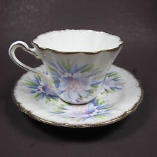 Royal Stafford Orchid Tea Cup and Saucer Gold Rim Purple Blue Flower Floral