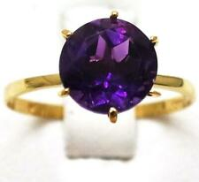SYJEWELLERY 9CT YELLOW GOLD SOLITAIRE NATURAL AMETHYST RING  SIZE N   R1435