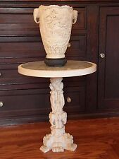 VINTAGE CARVED WHITE RESIN BONE CELLULOID ORIENTAL TABLE AND GEISHA DESIGN VASE