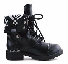 Little Girls Youth Ankle Combat Boots Fold Over Tall Military Mid Calf Booties