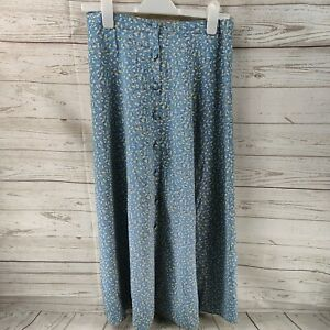 Baby blue & floral vintage look long Skirt buttons Size 16 ladies clothing