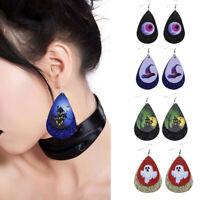 Halloween Women Ghost Pumpkin  Leather Hook Earrings Ear Drop Dangle Jewelry