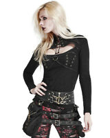 Punk Rave Womens Steampunk Top Black Copper Gothic Dieselpunk Long Sleeve Corset