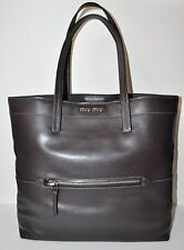 MIU MIU Vitello Soft Leather Shopping Tote Bag in Ebano Dark Brown