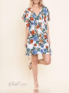 Umgee | Floral Short Ruffle Sleeve Front Tie Above Knee Dress | NWT Size: S M L