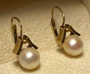 Vintage Estate 14K Yellow Gold 6.7mm Cultured Akoya Pearl Drop Fishhook Earrings