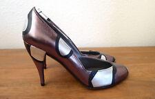 Charles Jourdan Paris France Vintage Leather Heels Metallic New 1980s 7 37