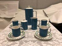 Harmony House Blue & Green Carnival - Coffee Pot, Sugar, Creamer, 4 Cups Saucers