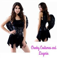 Black Angel Gothic Halloween Costume Inc Feather Wings Size 10