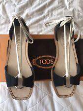 Tod's Black Suede Flat Sandals, Size EU37/UK4, BNWT