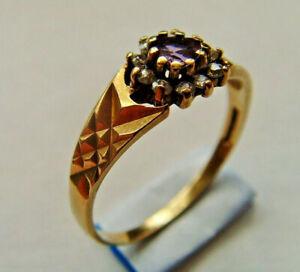 9ct Gold Amethyst & CZ Ring UK Size P Hallmarked