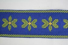 "Vintage Flat Woven Sewing Braid Trim Tape 2 3/8"" wide x 2 yds Blue w Gr Daisies"