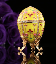 European Faberge Egg Russian Easter Figurine Trinket Jewellery Box Small Decor