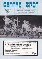 Bury v Rotherham United 1977 / 78 Division 3 - November 5th