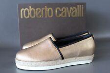 ROBERTO CAVALLI Damen Espadrilles EUR 41 Echtleder Gold Shoes Italy NEU