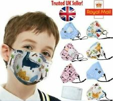 Kids Mask Children Cartoon Face Masks with Valve Washable Protection Reusable UK