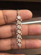 Pave 1.20 Cts Round Baguette Cut Natural Diamonds Bracelet In Fine 18K Rose Gold