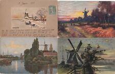 4 OLD POST CARDS PAYS-BAS HOLLANDE NEDERLAND moulins molens mills 3